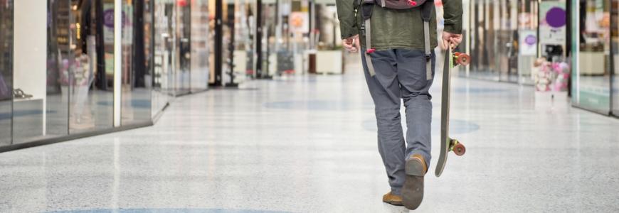 Skateboarder in a mall