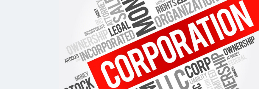 The word CORPORATION written out in big letters and highlighted in red. Surrounded by associated words relating to a corporation