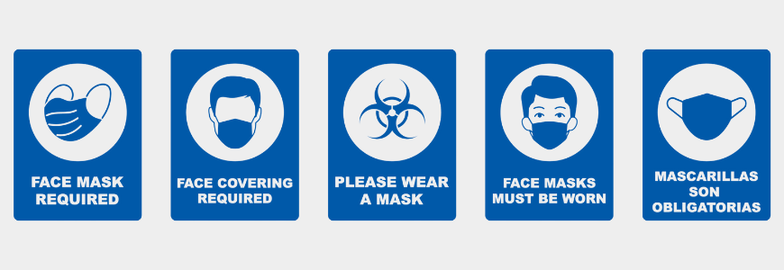 Five different signs showing that masks are required before entry