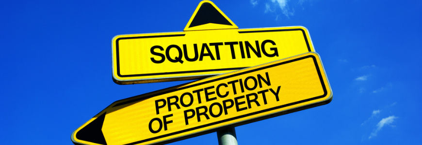Traffic sign with two options - Squatting vs Protection of Property